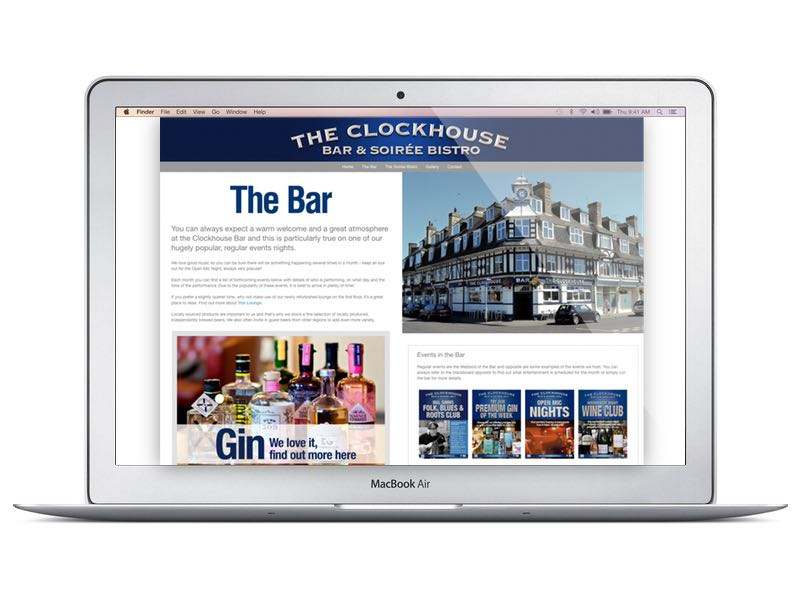 The_Clockhouse_Bar_and_Soiree_Bistro_website_on_a_mobile